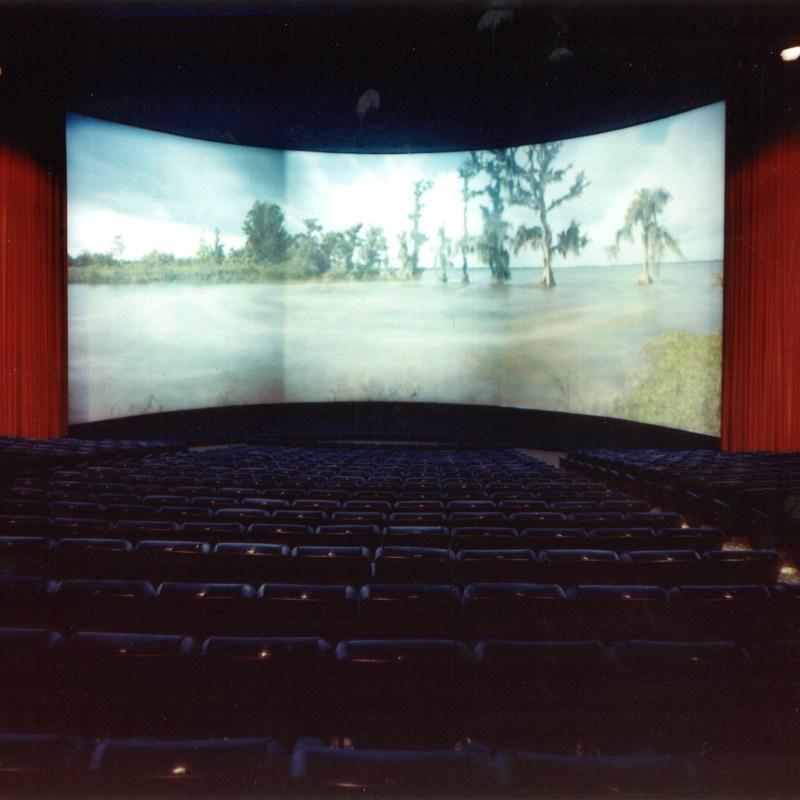 Denver Cinerama Theatre, Denver, CO. Theatre seating and Cinerama screen.