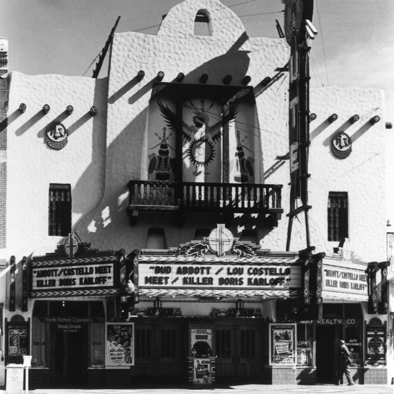 Ute Theater, Colorado Springs, CO. Theatre front. Marquee featuring Abbott and Costello.