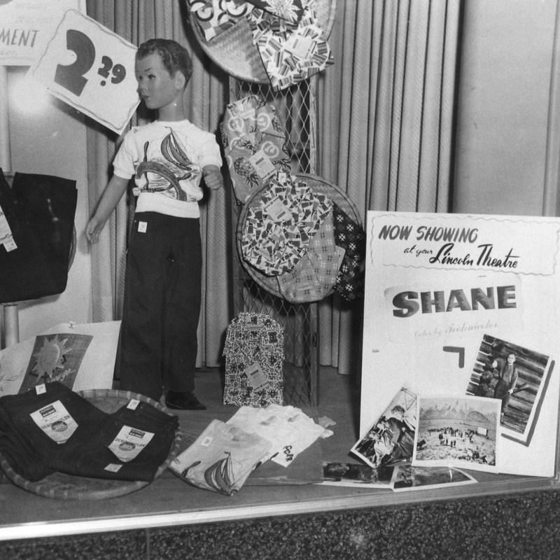 """Lincoln Theatre, Lincoln, NE, 1953. """"Shane"""" window display."""