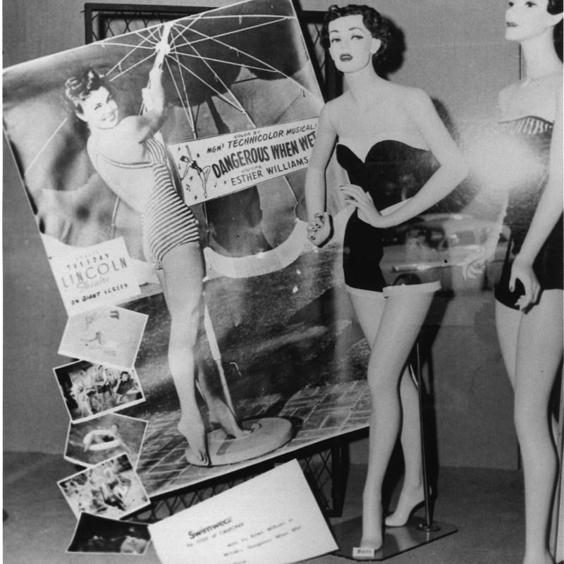 "Lincoln Theatre, Lincoln, NE, 1953. ""Dangerous When Wet"" window display."