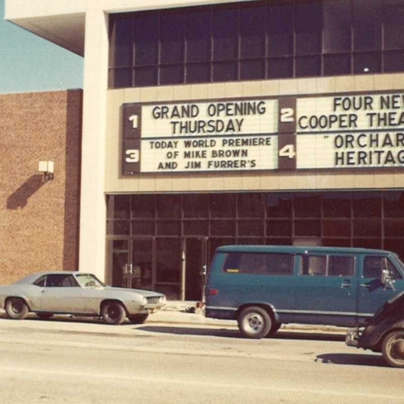 Cooper Plaza Theatres, Lincoln, NE. Marquee announcing grand opening.