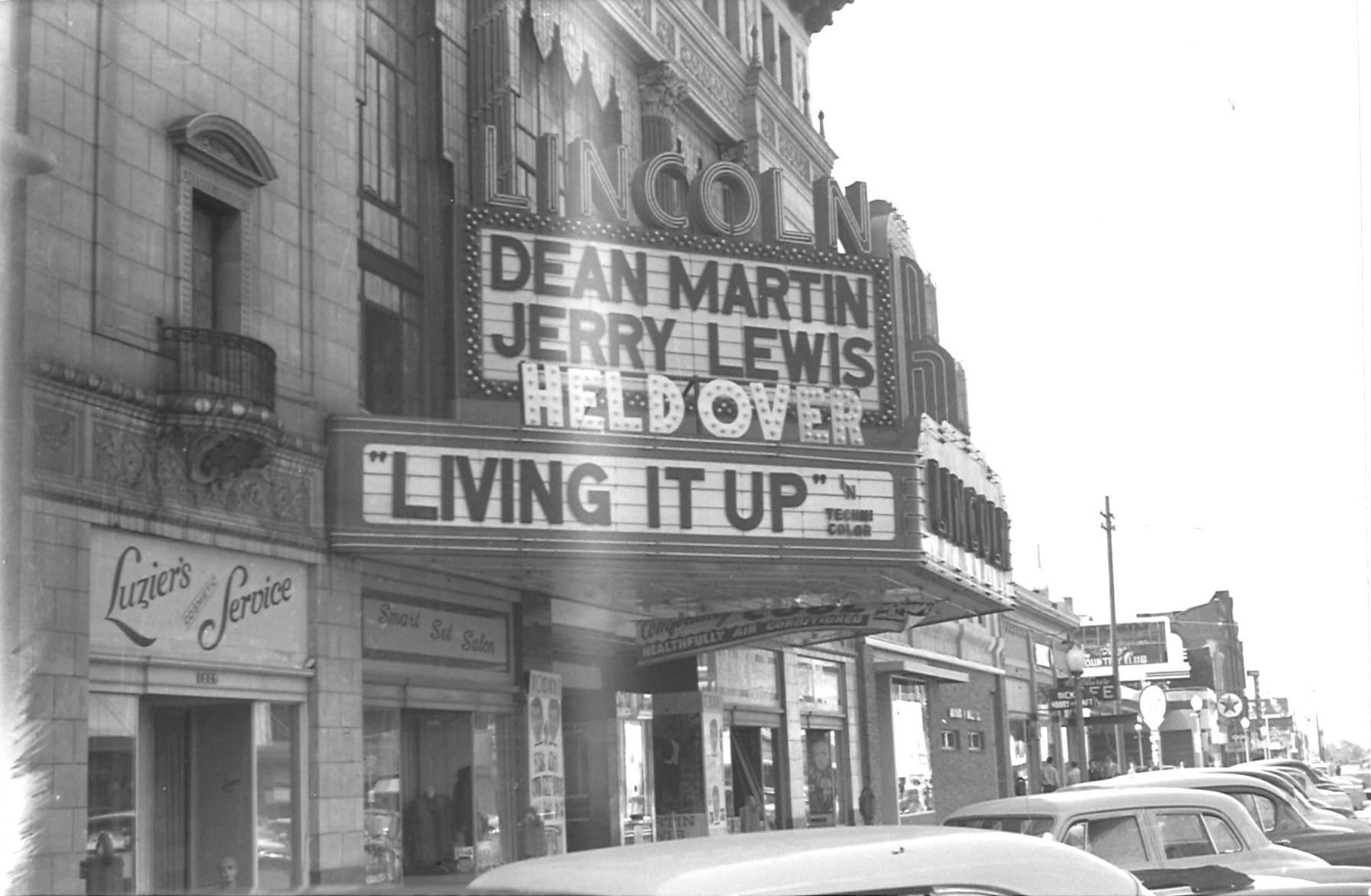 Lincoln Theatre, Lincoln, NE, Fall 1954. Theatre Marquee Featuring Dean  Martin And ...