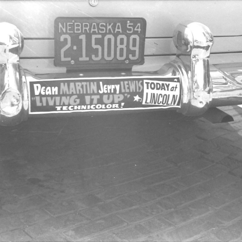 "Lincoln Theatre, Lincoln, NE, Fall 1954. Dean Martin & Jerry Lewis ""Living it Up"" bumper sticker."