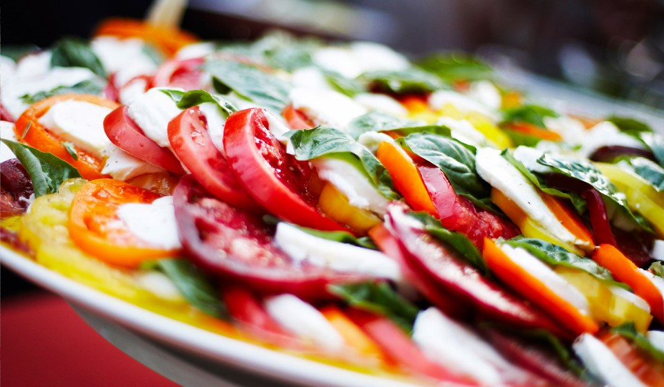 Tomatoes, Cheese and Basil Platter