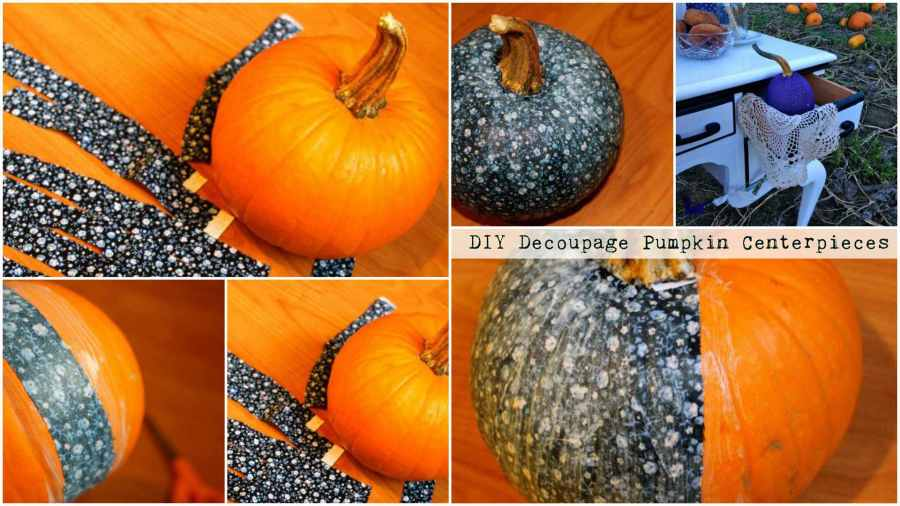 DIY Decoupage Pumpkin Centerpieces