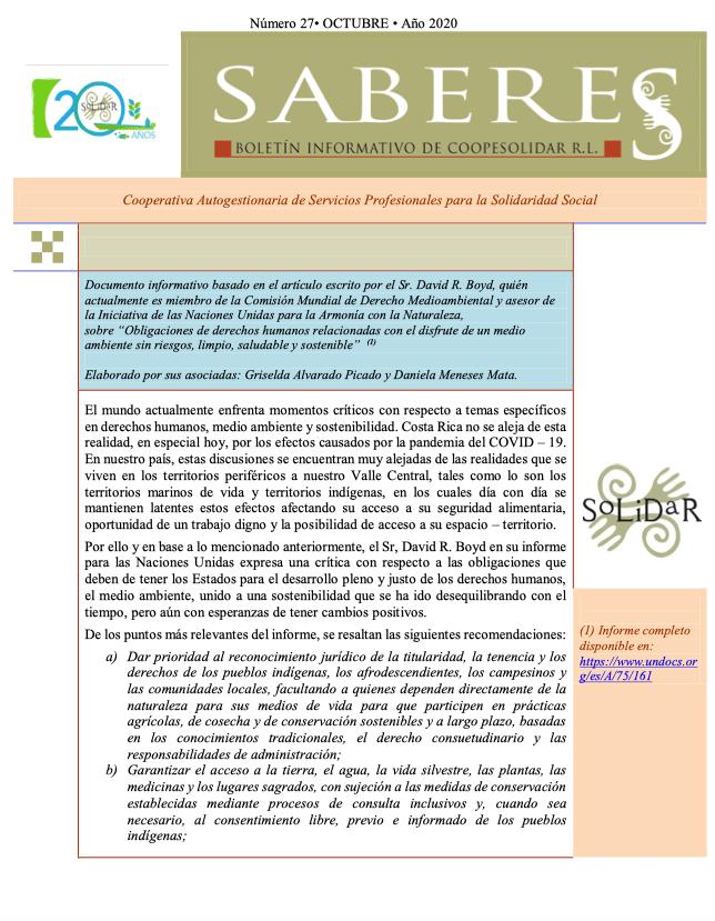 Boletín SABERES No 27 Año 2020