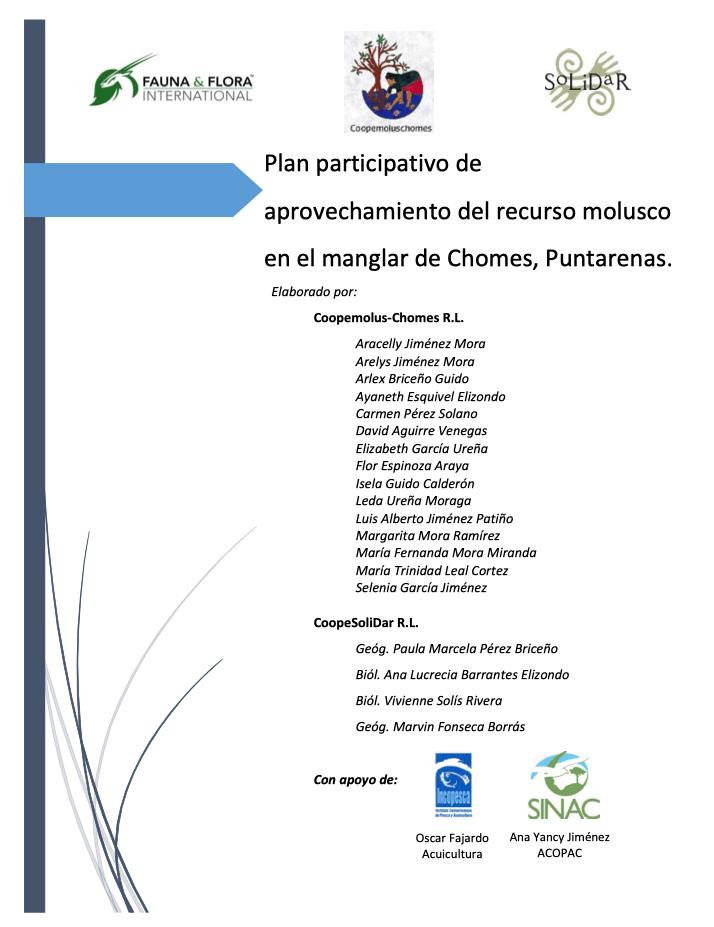 Plan participativo de aprovechamiento del recurso molusco en el manglar de Chomes, Puntarenas.