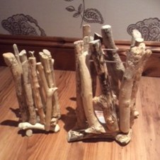 Driftwood vase holder
