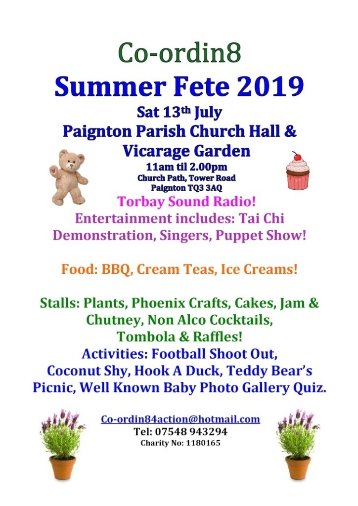 The Torbay Summer Fete poster with details of the 2019 event
