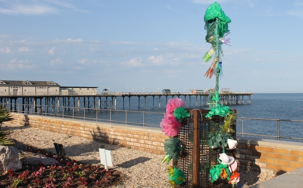 the colourful co-ordinate sculpture in place on the Teignmouth sea front