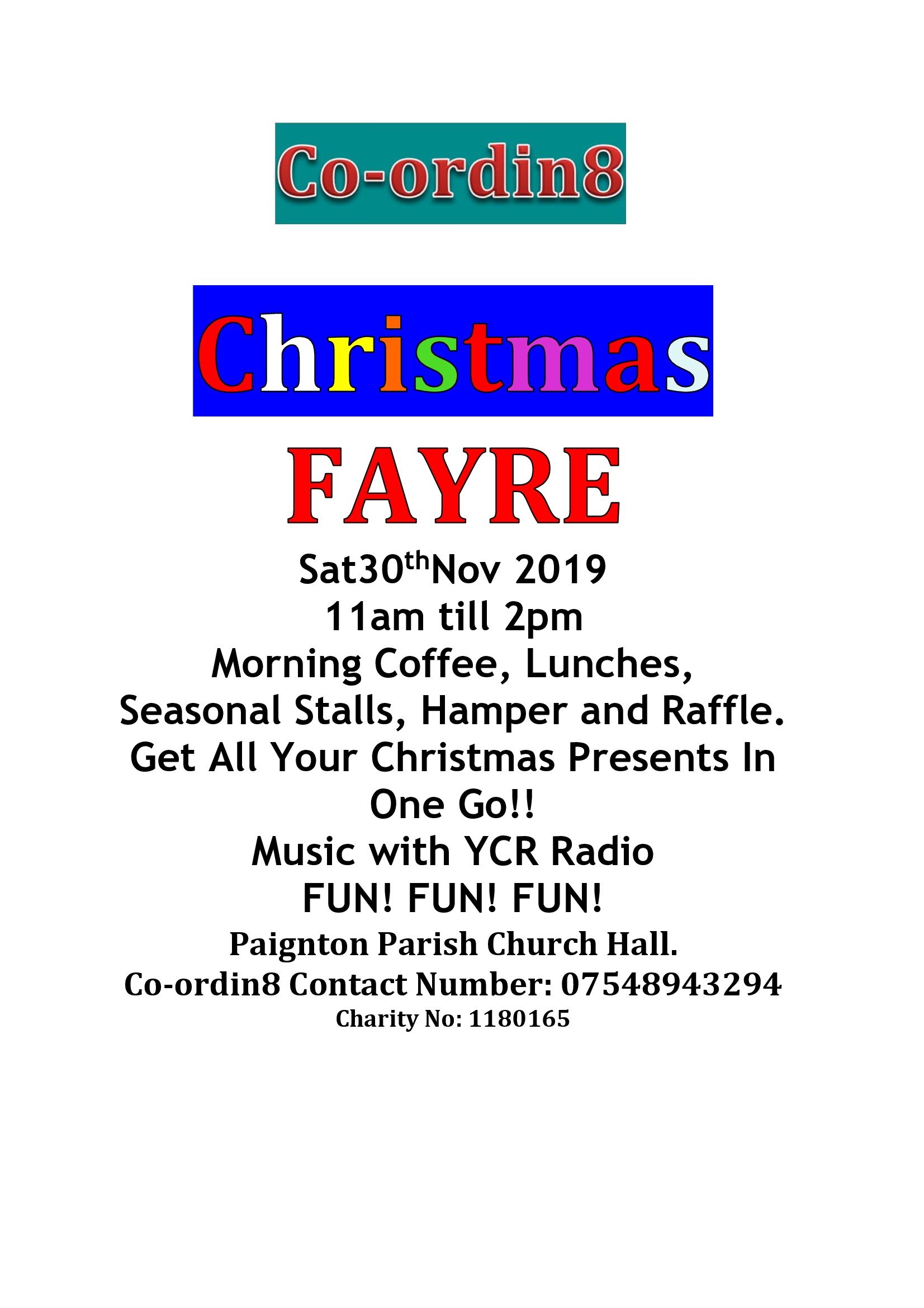 a poster for the 2019 Co-ordin8 Christmas Fayre