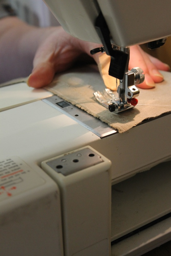 a close up of a sewing machine in action