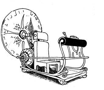 a line drawing of a time machine