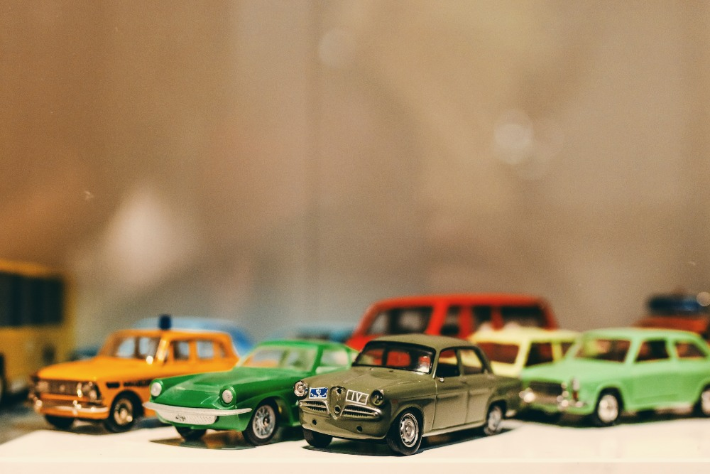 a selectin of toy cars