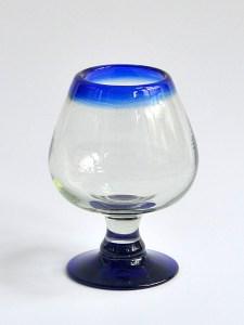 Cognac glass cobalt blue rim