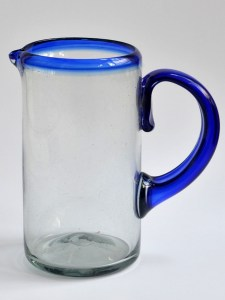 Cylinder Pitcher - Cobalt Blue Rim