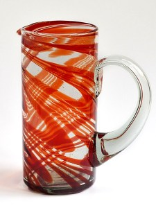 Cylinder pitcher - red swirls