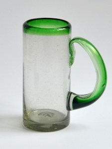 Large beer mug green rim