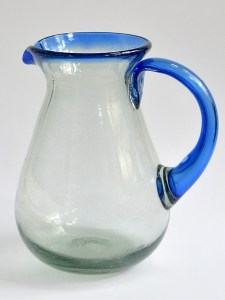 Pear pitcher blue rim