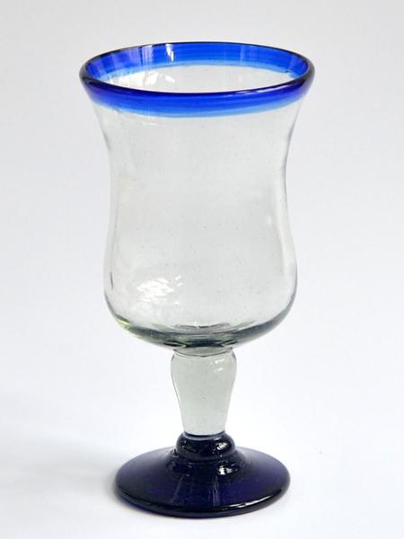 Polka Glass (Hurricane) 14 oz - Cobalt Blue Rim Image