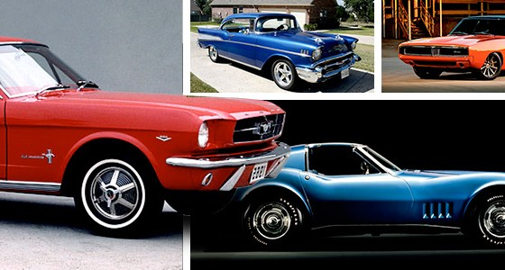 Pictures of a Ford Mustang, Corvette Stingray, Dodge Charger