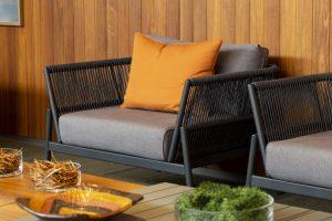 sofá 1 lugar; sofá com design; sofá fibra; tecido para área externa; almofada; mobiliário