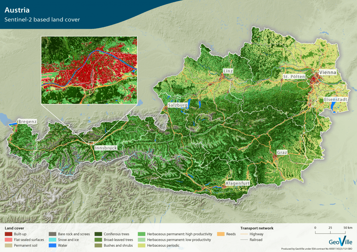 Validated Sentinel 2 based land cover map for Austria released for     Thereby  it reduces the existing lack of information is various fields such  as spatial planning  forestry  agriculture  water as well as environmental