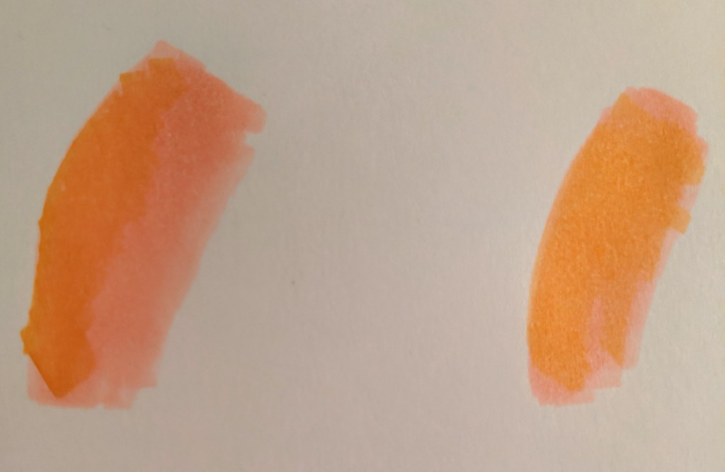 Blending yellow and orange tones in copic inks