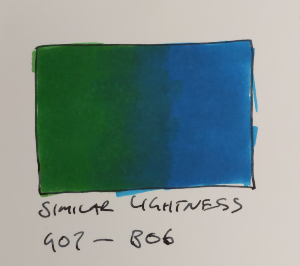 Blending alcohol markers with a similar lightness