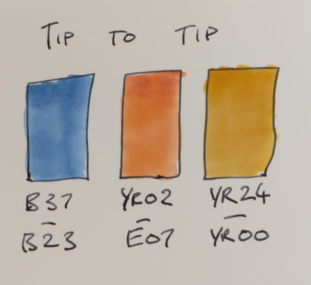 Tip to tip blending with alcohol markers