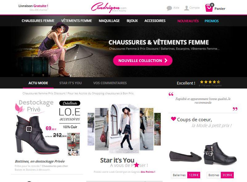 Chaussures femme et vêtements pas cher Cendriyon