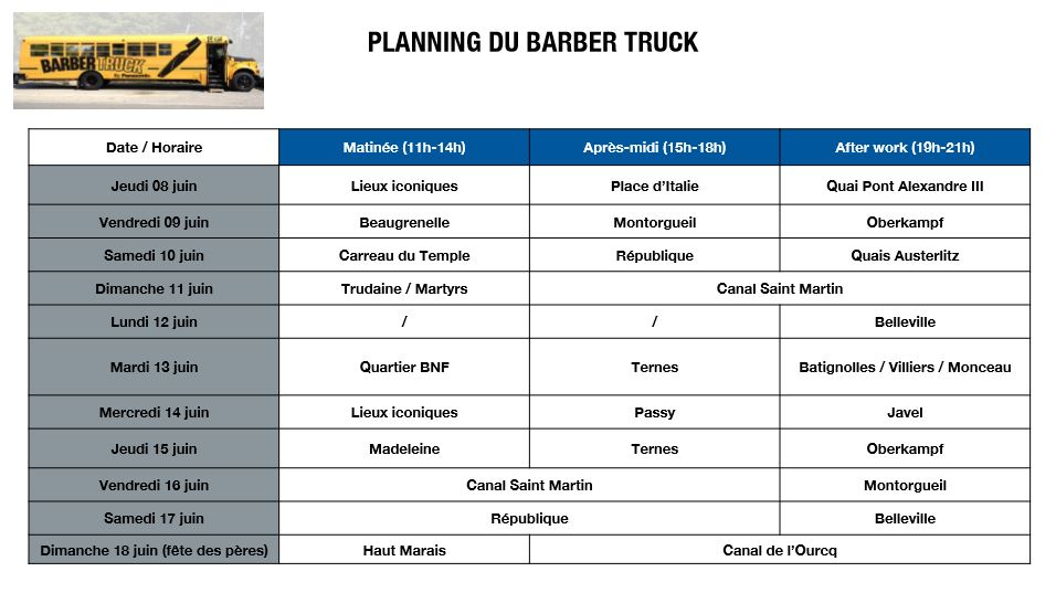 Planning Barbertruck paris