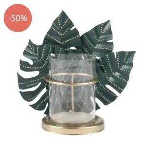 MAISONS DU MONDE – Lumignon en verre à décor feuilles