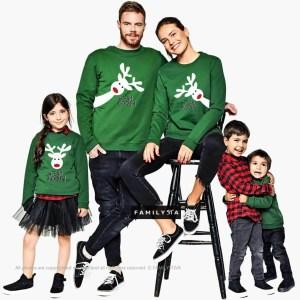 ETSY – Pull vert rudolph famille