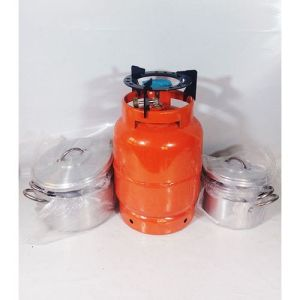 5kg Camping Gas Cylinder With Black Sitter And Set 4 Pot