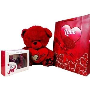 Gift For Her- Teddy Bear With Perfume Gift Set And Paper Bag