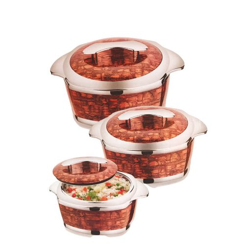 Insulated Hot Plate Set 3, Brick Design- Brown