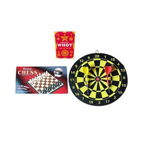 Mini Board Game- Chess And Dart With Free Whot