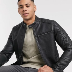 Black Jack & Jones Essential Faux Leather Racer Jacket
