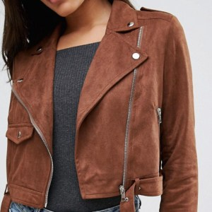 Women's Brown Faux Suede Biker Jacket