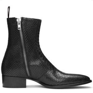 Black Snake Skin Leather Zip Up Luca Boots