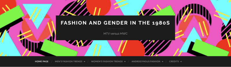 Screenshot of the homepage of the Fashion and Gender in the 1980s website