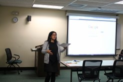 Librarian Alejandra Nann talking about professional resources.