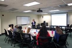 Librarian Laura Turner demonstrating Google Scholar.