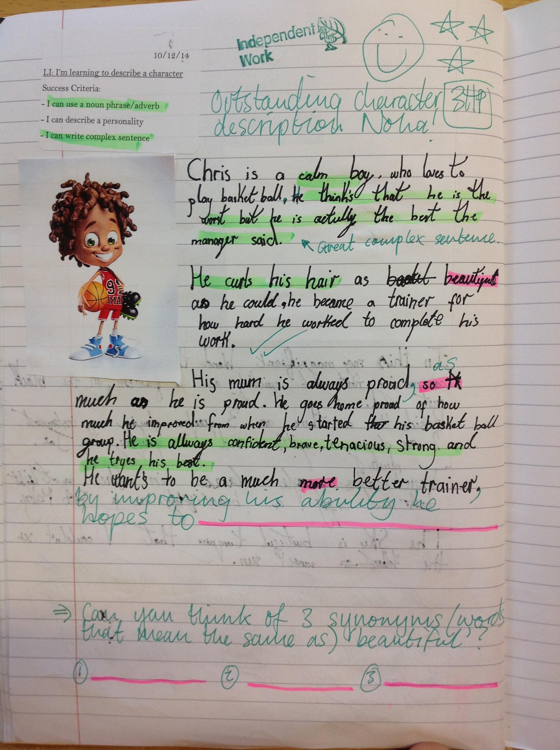 Literacy Descriptive Writing Copperfield Class