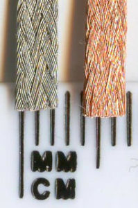Slot car braid suitable for all production slots cars. Available in either tinned or plain copper finishes and woven from 0.1mm² wire.