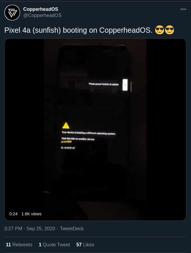 CopperheadOS supported the Pixel 4a first