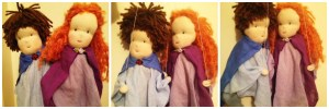 The finished couple. The photo on the left shows his hair before I added the extra layer as the stitching was showing through too much. Lots of storytelling in our future :)