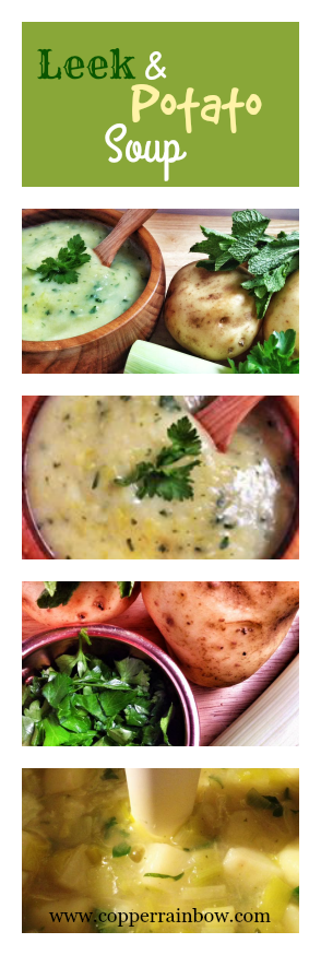 Hearty and fresh leek and potato soup with parsley and mint
