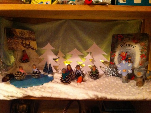 Our Winter shelf where Coppertop loved looking at the lights and making her acorn family skate across the pond
